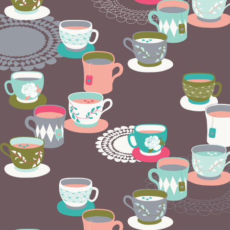 Spring Tea Garden Dark Tea Cups fabric by zesti on Spoonflower - custom fabric