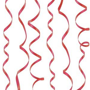 red curling ribbons on white