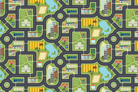 Custom FQ Town & Country Play Mat fabric by seesawboomerang on Spoonflower - custom fabric