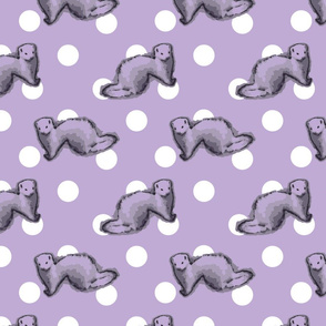 Ferrets and polka-dots - purple