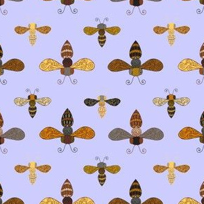 Ornate Bees on Periwinkle