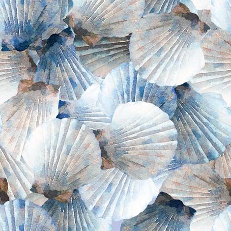 Blue Scallop Shells fabric by lauriekentdesigns on Spoonflower - custom fabric