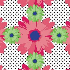 Flower Power Pink and Green Polka Dot in Large
