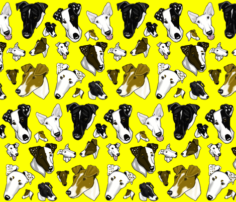 Smooth Fox Terriers-yellow fabric by creativeworksstudios on Spoonflower - custom fabric