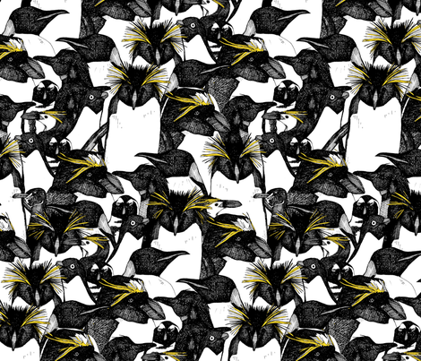 just penguins black white yellow fabric by scrummy on Spoonflower - custom fabric