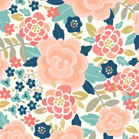 Pretty Floral fabric by laura_mayes on Spoonflower - custom fabric