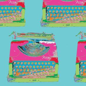 Jack Kerouac's Typewriter, Aqua background