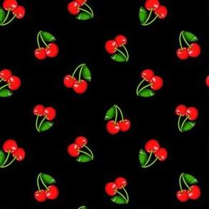 Rockabilly Cherries on Black