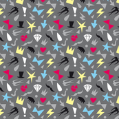 flat graphic print with colored silhouettes of fashion elements