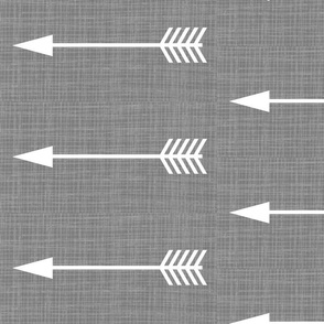 Arrows on Grey Linen - Grey Arrows- rotated