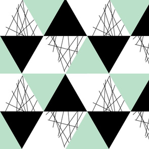 Mint Black White Triangle Cheater Quilt - Baby Blanket