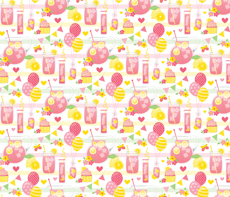 Pink Lemonade Party fabric by lisa_kubenez on Spoonflower - custom fabric