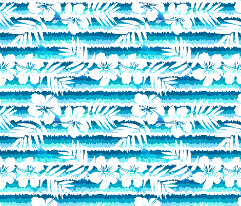 Blue flowers waves fabric by art_of_sun on Spoonflower - custom fabric