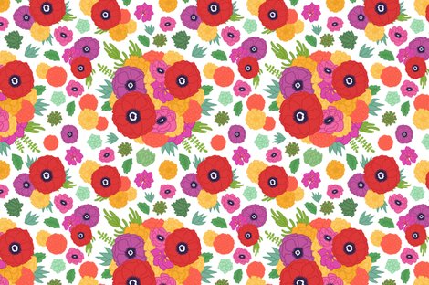 Bright Flowers fabric by bettyturbo on Spoonflower - custom fabric
