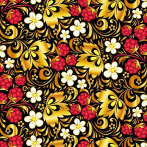 Golden raspberry pattern