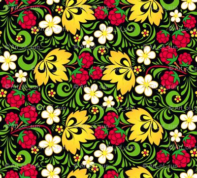 Raspberry hohloma pattern