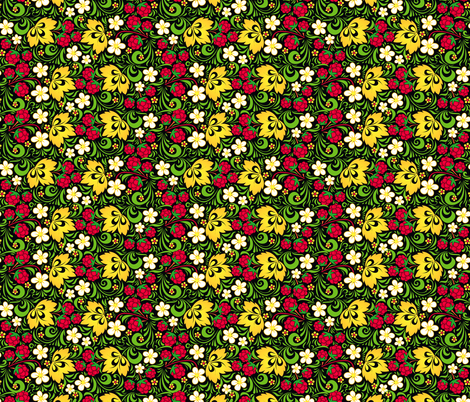 Raspberry hohloma pattern fabric by art_of_sun on Spoonflower - custom fabric