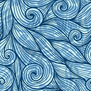 Blue curly waves