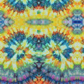 Ice Dyed/Tie Dyed Yellow Blue Purple