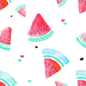 Colorful summer hot red watermelon fruit hand painted watercolor pattern Small