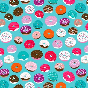 Colorful donuts and home baked candy goods sugar candy blue pattern for kids
