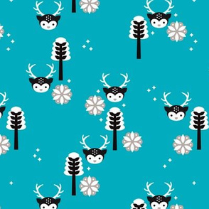 Cute winter blue reindeer moose woodland tree and snow flake kids illustration print