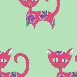 Fuchsia Paisley Cat