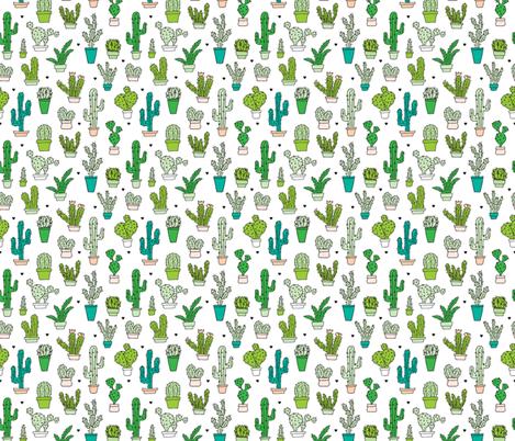 Cactus cacti garden botanical succulent green garden pattern illustration print Small fabric by littlesmilemakers on Spoonflower - custom fabric