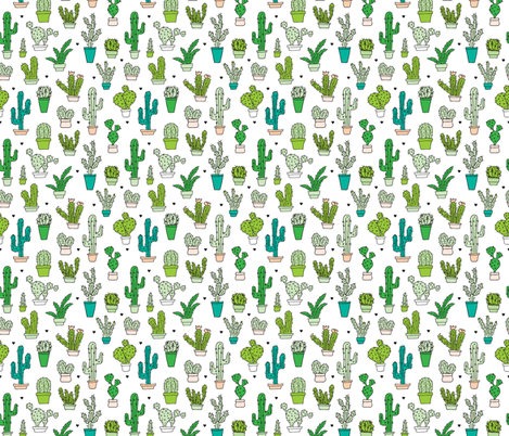 Cactus cacti garden botanical succulent green garden pattern illustration print Small fabric by littlesmilemakers on Spoonflower - custom fabric