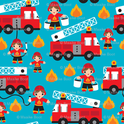 Fire to the rescue fire fighters fire truck and hero boys car fabric Small