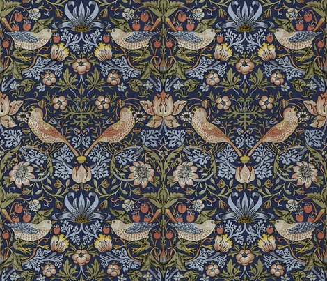 DESIGN Rrrwilliam Morris Strawberry Thief Original Blue Repeat Peacoquette Designs Copyright 2015 Shop Preview William