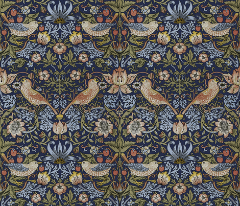 William Morris ~ Strawberry Thief ~ Original Blue  fabric by peacoquettedesigns on Spoonflower - custom fabric