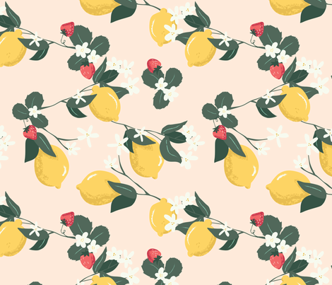 Freckled Strawberry Lemonade  fabric by hey_there_louise on Spoonflower - custom fabric