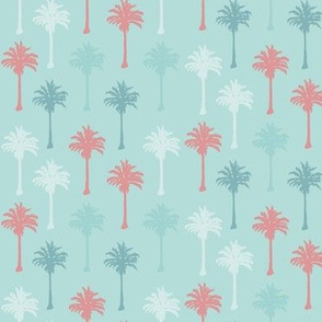 Palm Trees in Coral, Dark Teal and White on Light Teal