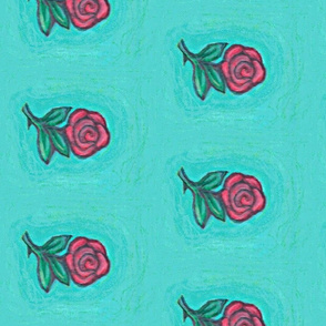 Falling Roses in the Sky Fabric