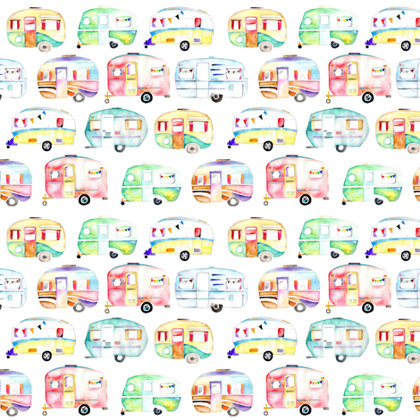 Watercolour Caravans fabric by emeryallardsmith on Spoonflower - custom fabric