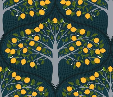 Midnight Lemon Trees fabric by ceciliamok on Spoonflower - custom fabric