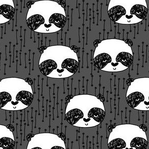 panda // charcoal grey panda face cute scandi nursery fabric cute panda design