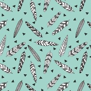 Inky Feathers fabric //- Pale Turquoise (Smaller Size) by Andrea Lauren