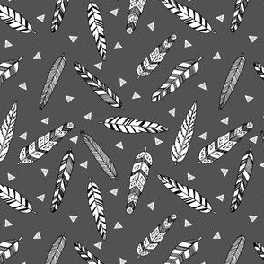 Inky Feathers fabric // - Charcoal (Smaller Version) by Andrea Lauren