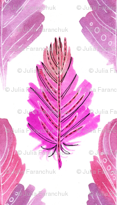 Seamless pattern of pink feathers