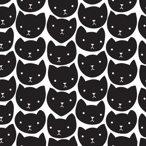 Cat Heads Black and White fabric by janekenstein on Spoonflower - custom fabric
