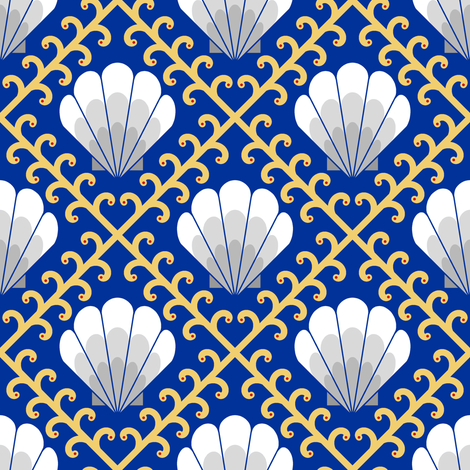 04355335 : shell + weed : brittania rules the waves fabric by sef on Spoonflower - custom fabric