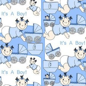 Baby Boys With Carriages and Diapers Fabric #3