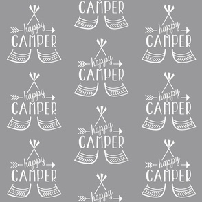 Happy Camper - Gray & White