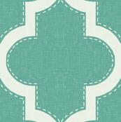 Stitched Quatrefoil in Teal Linen