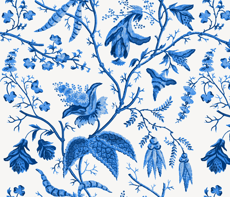 Chinese Garden in Cobalt fabric by willowlanetextiles on Spoonflower - custom fabric
