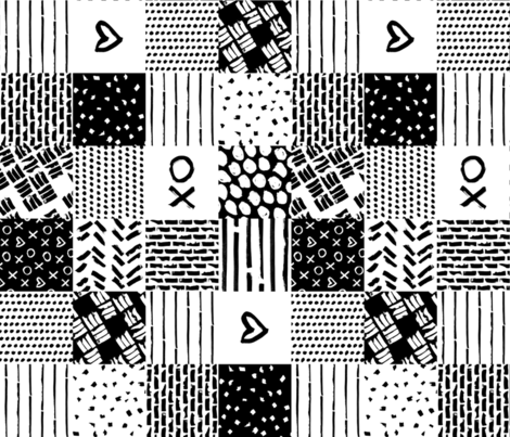 black white xoxo heart wholecloth fabric by primuspattern on Spoonflower - custom fabric