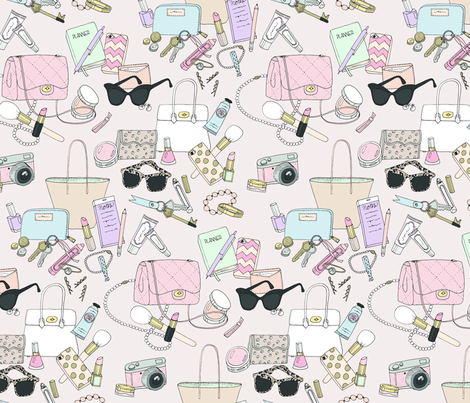 What's in My Bag fabric by emmakisstina on Spoonflower - custom fabric