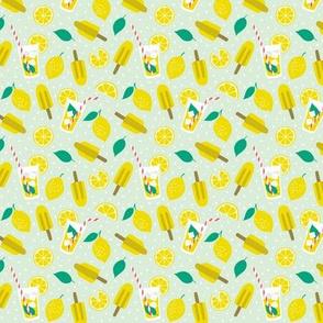 Refreshing summer lemons with ice cream mint  (mini)